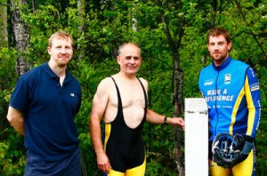 My Dad (in a unitard), Todd and Stu during the Make a Difference marathon  in a cycling unitard at the exact spot Terry Fox ended his Marathon of Hope