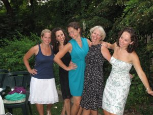 Lynny with her 4 girls at Tasha's (turquoise dress) wedding. Her Dad wasn't there to walk her down the aisle but they figured out how to miss him and have fun all at once.