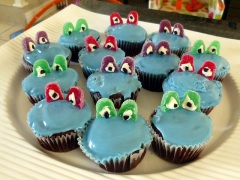 3 hours spent making frog cupcakes for my nephew's birthday.