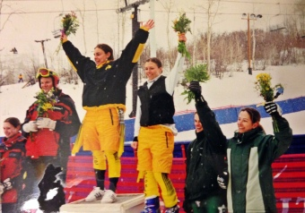 Linda and I shared the podium for both of my titles. She also went on to win her own in the slalom 2 days later.
